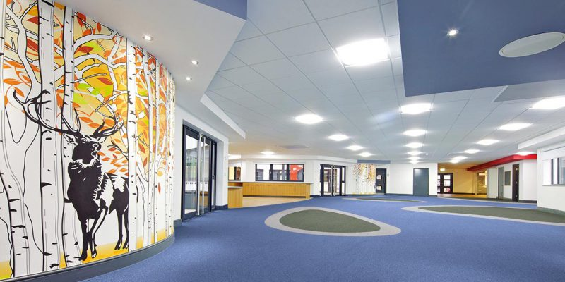 School hallway with school flooring in birmingham