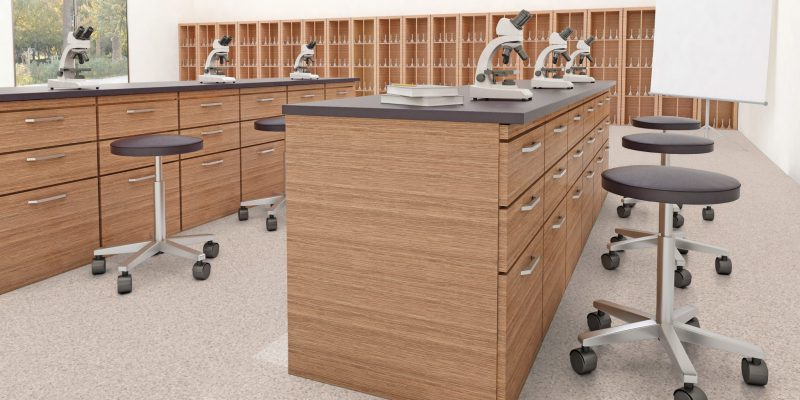 Science classroom with school flooring