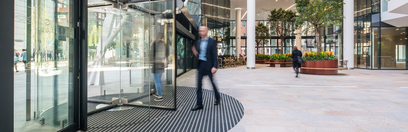 Revolving door in office block in Birmingham