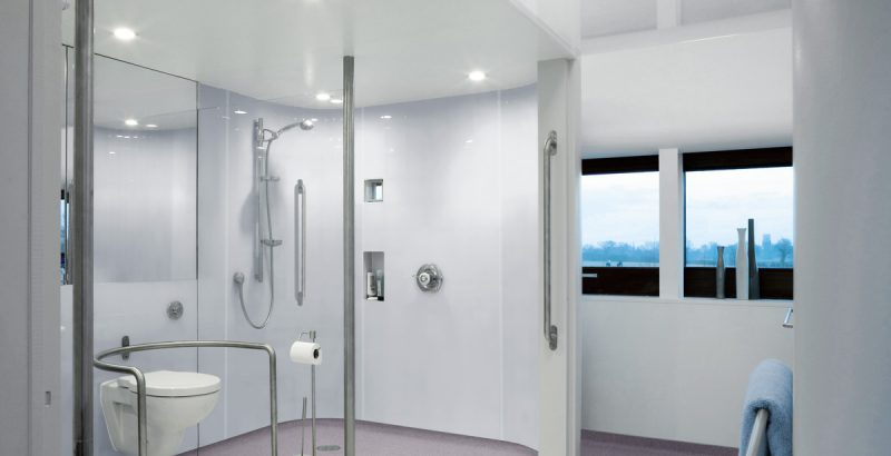Large shower room with sports flooring in birmingham