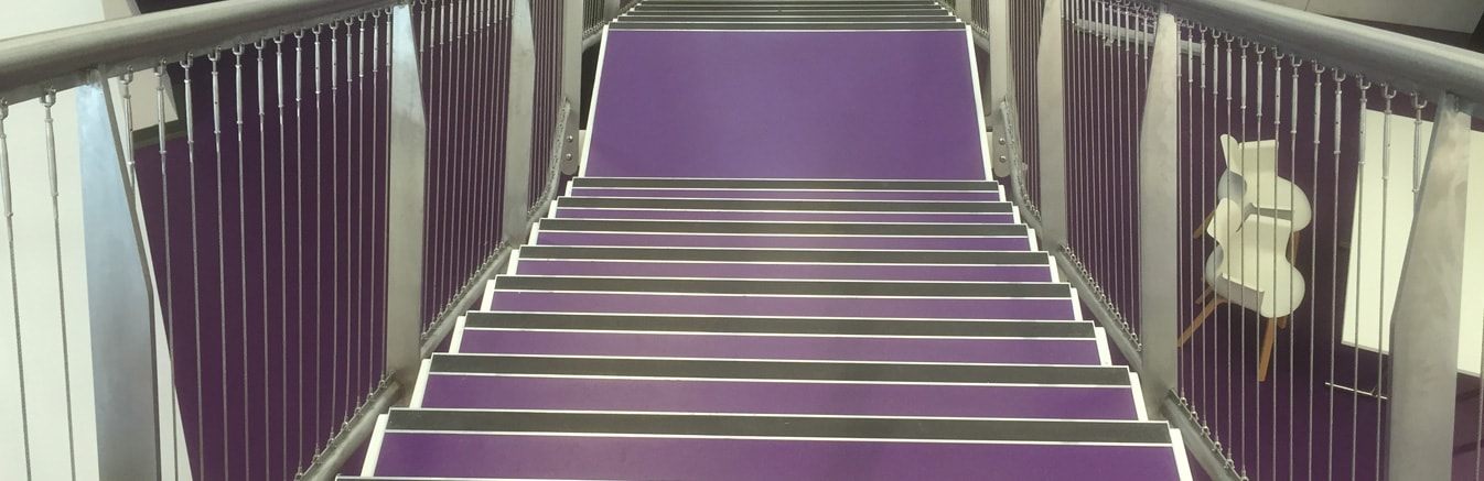 Linoleum flooring on staircase in Birmingham
