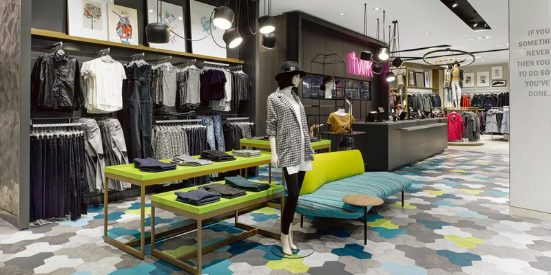 Clothes shop with commercial flooring
