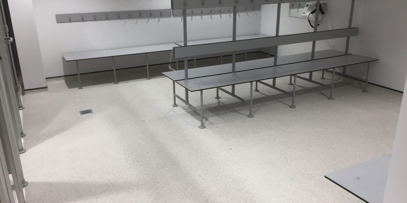 Changing room with Sports flooring in Birmingham