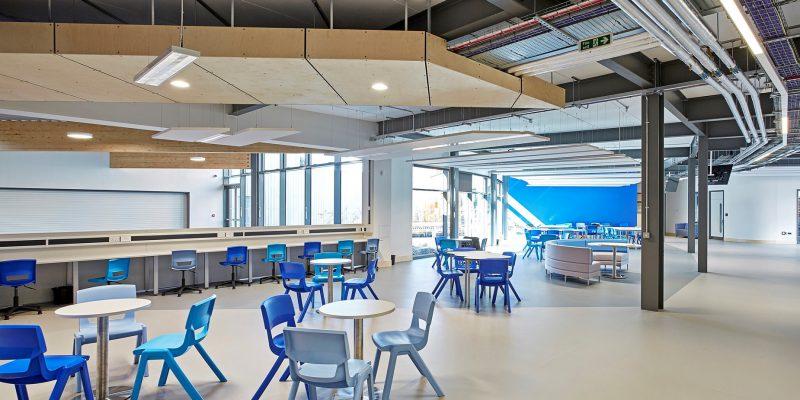 school open plan classroom with grey school flooring in Birmingham