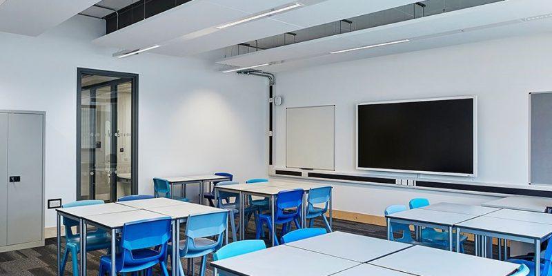 classroom with grey pattern school flooring in birmingham