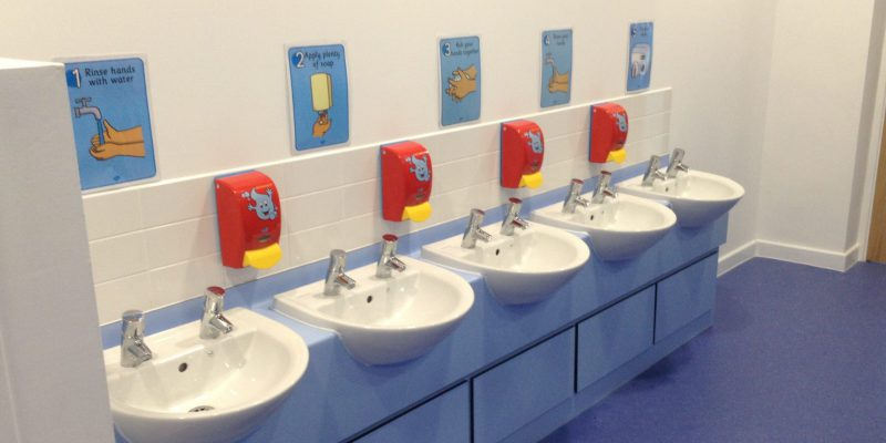 kids toilet with school flooring in Birmingham